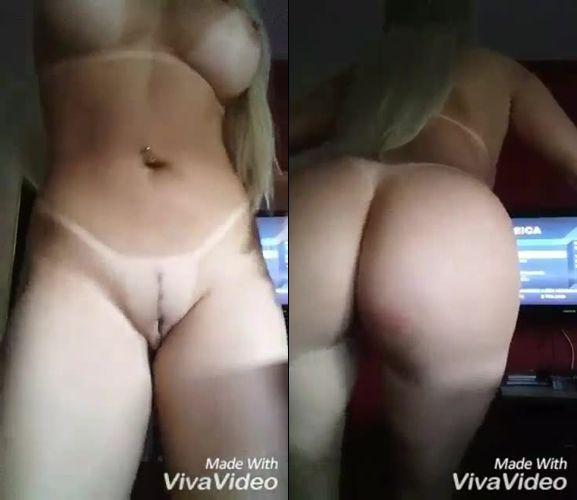 Aline loira perfeita exibindo pepeca e peitões em vídeo caseiro