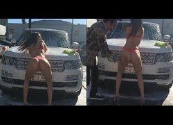 Morena gostosa de calcinha e sutiã lavando minha Range Rover